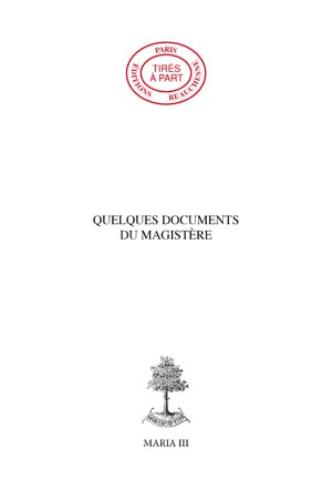 33. QUELQUES DOCUMENTS DU MAGISTÈRE.