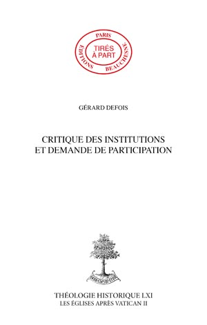CRITIQUE DES INSTITUTIONS ET DEMANDE DE PARTICIPATION
