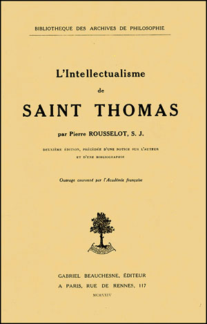 L'INTELLECTUALISME DE SAINT THOMAS